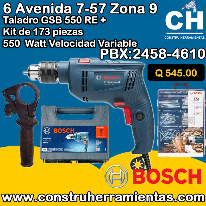 Taladro GSB 550 RE + KIT BOSCH Guatemala